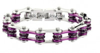 Ladies Bracelet  Stainless Steel   Bling Motorcycle with Purple Crystals  4 Lengths  FREE SHIPPING - Product Image