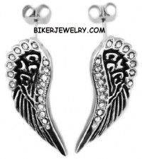 Ladies Post Angel Wing Earrings  Stainless Steel  FREE SHIPPING - Product Image