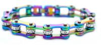Ladies Rainbow Stainless Steel Motorcycle Biker Bracelet  FREE SHIPPING - Product Image
