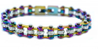 Ladies Stainless Steel Multi Colors Bling Mini Motorcycle Bracelet with Crystals  FREE SHIPPING - Product Image