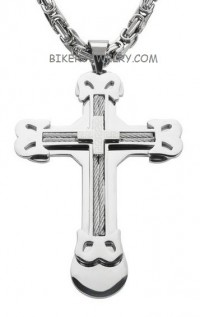 Large Religious Cross  Cross  Stainless Steel Byzantine Chain  4 Lengths  FREE SHIPPING - Product Image