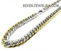 Two tone Stainless and Gold Tone Curb Link Men's Necklace  FREE SHIPPING - Product Image