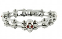 Women's Motorcycle Bike Chain Bracelet with Skulls  FREE SHIPPING - Product Image