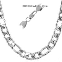 11mm  Stainless Steel Figaro Link Necklace  FREE SHIPPING - Product Image