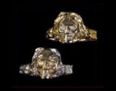 14K Gold Claw Skull  Ring - Product Image