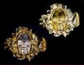 14K Gold Nugget Skull Ring - Product Image