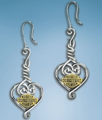 Harley-Davidson® Barbed Wire Heart Earrings - Product Image