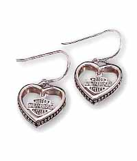Ladies Harley-Davidson® Heart Earrings in Sterling Silver - Product Image