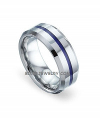 Stainless Steel Police Officer Wedding Band Thin Blue Line Ring Sizes 9-13  FREE SHIPPING - Product Image