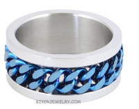 Wedding Band Spinner Ring Blue Chain Police Blue Line Sizes 9-15 - Product Image