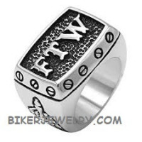 Men's Stainless Steel FTW  Biker Ring Sizes 9-16 FREE SHIPPING - Product Image