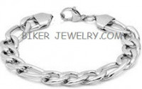 8mm Figaro Bracelet  Stainless Steel  2 Lengths  FREE SHIPPING - Product Image