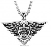 Armor Of God Pendant Foxtail Chain Stainless Steel Motorcycle Jewelry FREE SHIPPING - Product Image