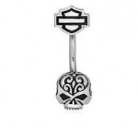 BODY JEWELRY Harley Davidson ® Mod Jewelry® Sugar Skull Willie G. Belly Ring HDZ0062 - Product Image