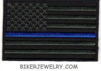 Black Flag with Police Blue Stripe Patch FREE SHIPPING - Product Image