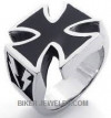 Iron Cross Biker Ring  Lighting Bolts  Sizes 9-13  FREE SHIPPING