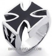 Iron Cross Biker Ring  Lighting Bolts  Sizes 9-13  FREE SHIPPING - Product Image