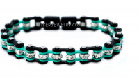 Black / Turquoise Mini Ladies Stainless Steel Bling Motorcycle Bracelet with Crystals  FREE SHIPPING - Product Image