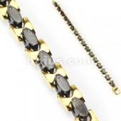 "Men's  Stainless Steel Black and Gold Necklace  24""  FREE SHIPPING - Product Image"