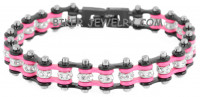 Black and Pink  Mini Ladies  Stainless Steel  Bling Motorcycle Bracelet with Crystals  FREE SHIPPING - Product Image