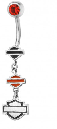 Body Jewelry Harley Davidson ® Mod Jewelry® Dangle Orange CZ Biker Belly Ring HDZ0055 - Product Image