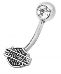 Body Jewelry Harley-Davidson ® Motorcycle Crystal Navel Ring for the Ladies Mod Jewelry®HDZ0034 - Product Image
