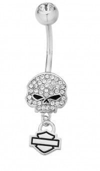 Body Jewelry Harley-Davidson ® Willie G Skull Bling Crystals Navel Ring HDZ0057 - Product Image