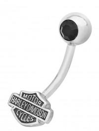 Body Jewelry Ladies Harley-Davidson ® Black Crystal Biker Navel Ring HDZ0035 - Product Image