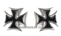 EARRINGS  Unisex Stainless Steel Biker Iron Cross Earrings   FREE SHIPPING - Product Image