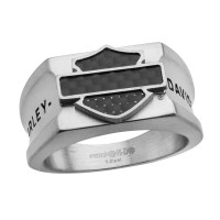 Harley-Davidson ® Men's Ring Carbon Fiber Biker Logo Mod Jewelry® Available in Sizes 9-14HSR0009 - Product Image
