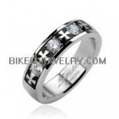 Wedding Band  Celtic Cross  Triple Gem Stone  Sizes 6-14  FREE SHIPPING - Product Image