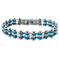 Chrome and Turquoise Mini Ladies Stainless Steel Bling Motorcycle Bracelet with Crystals  FREE SHIPPING - Product Image