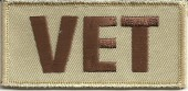 "Desert Tan VET  Military Patch  1 1/2"" x 3""  FREE SHIPPING - Product Image"