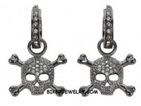 EARRINGS  Bling Hoops Skull/Cross Bones Blackened Stainless Steel  FREE SHIPPING - Product Image