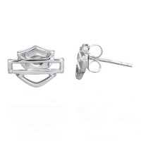 EARRINGS Harley-Davidson ® Sterling Silver Open Bar and Shield Logo By Mod Jewelry® HDE0193 - Product Image