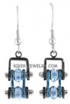 EARRINGS Ladies Mini Stainless Steel Black/Blue Crystals Bling Motorcycle Bike Chain  FREE SHIPPING