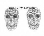 EARRINGS Stainless Steel Bling Skull Post  FREE SHIPPING - Product Image