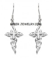 EARRINGS  Stainless Steel  Flaming Religious Cross  FREE SHIPPING - Product Image