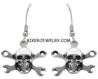 EARRINGS  Stainless Steel  Dangling Skull/Wrenches   FREE SHIPPING - Product Image