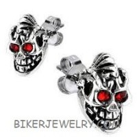 EARRINGS Stainless Steel Skull with Mohawk and Red Eyes   FREE SHIPPING - Product Image