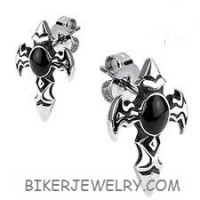 EARRINGSStainless Steel Religious Cross with Onyx  FREE SHIPPING - Product Image