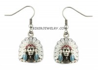 EARRINGS  Indian in Head-Dress Stainless Steel  FREE SHIPPING  - Product Image