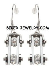 Earrings  Motorcycle  Bike Chain  Silver and White  Bling  with Crystals  Stainless Steel  FREE SHIPPING - Product Image