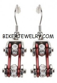Earrings  Motorcycle  Bike Chain  Silver and Red  Bling with Crystals  Stainless Steel  FREE SHIPPING - Product Image