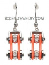 Earrings Motorcycle Bike Chain Stainless Steel Chrome / Orange  FREE SHIPPING