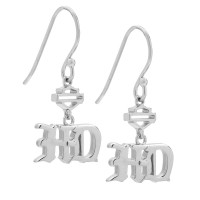Earrings Old English Harley Davidson ® by Mod Jewelry® Sterling SilverHDE0475 - Product Image