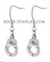 Earrings Stainless Steel Small Handcuffs  FREE SHIPPING - Product Image