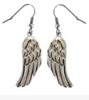 Earrings  Ladies  Long Dangle Angel Wing  Stainless Steel  FREE SHIPPING - Product Image