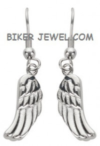 Earrings  Ladies  Small Dangle Angel Wing  Stainless Steel  FREE SHIPPING - Product Image