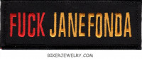 "F... JANE FONDA Motorcycle Biker Patch  1 3/4"" x 4""  FREE SHIPPING - Product Image"